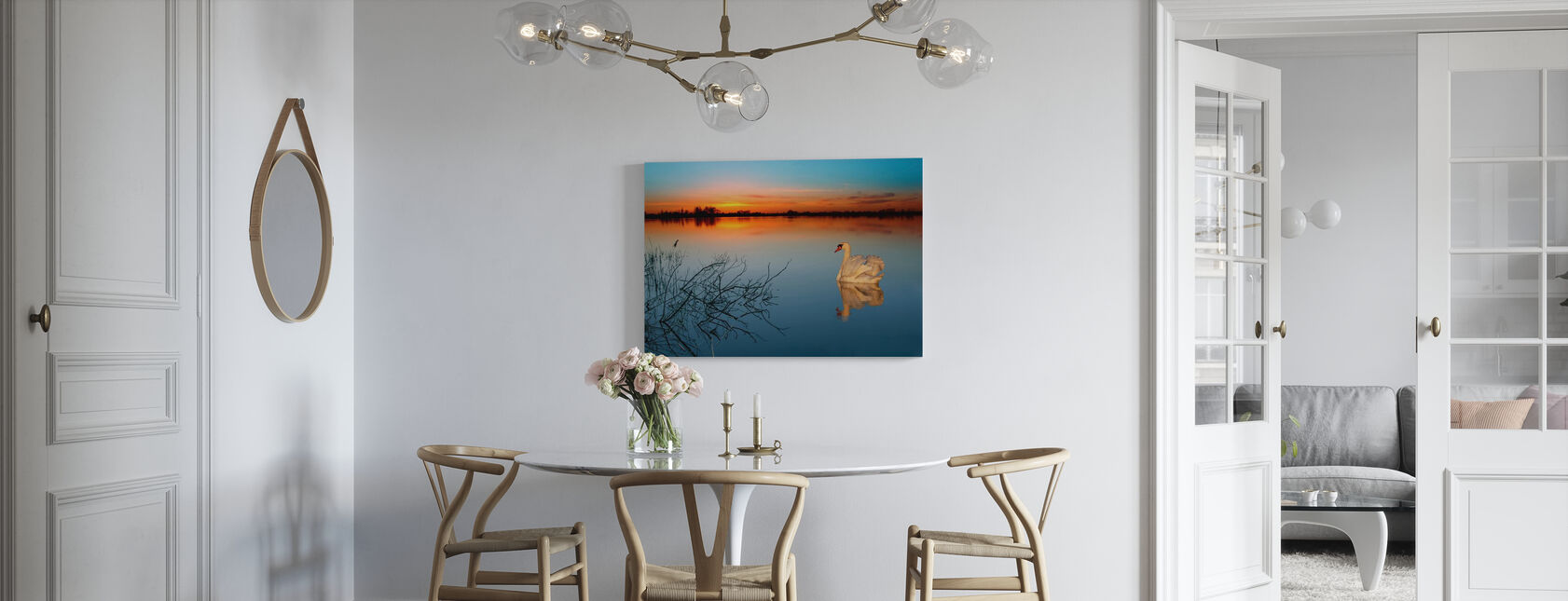 Svane på en sø - Billede på lærred - Køkken