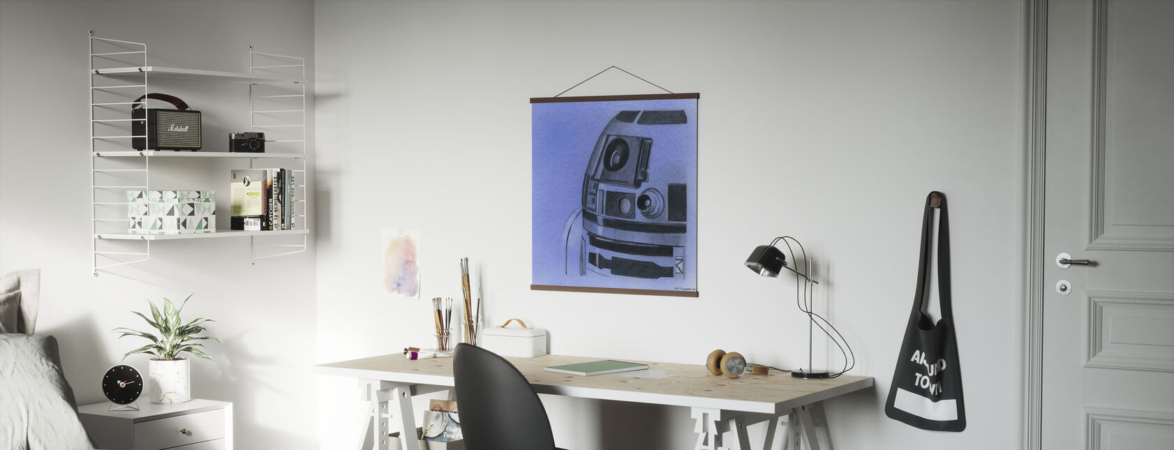 Star Wars - R2-D2, colore: Blu grafite - Poster - Uffici