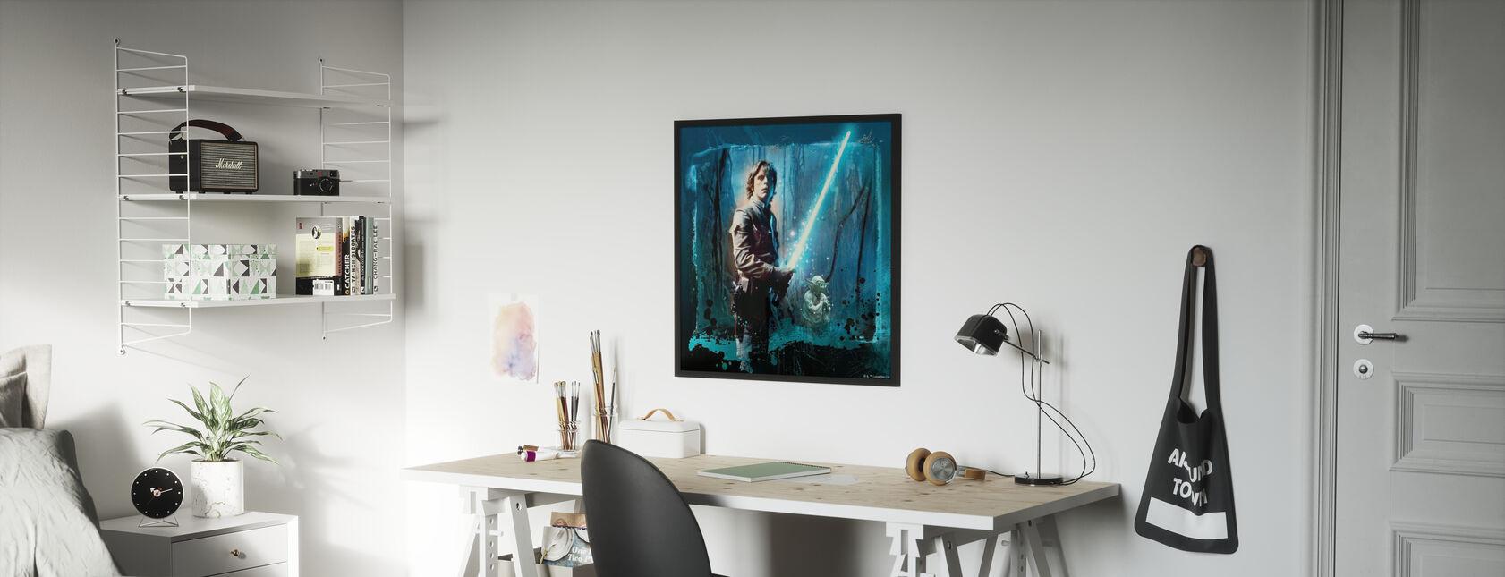 Star Wars - Luke Skywalker e Yoda - Stampa incorniciata - Camera dei bambini
