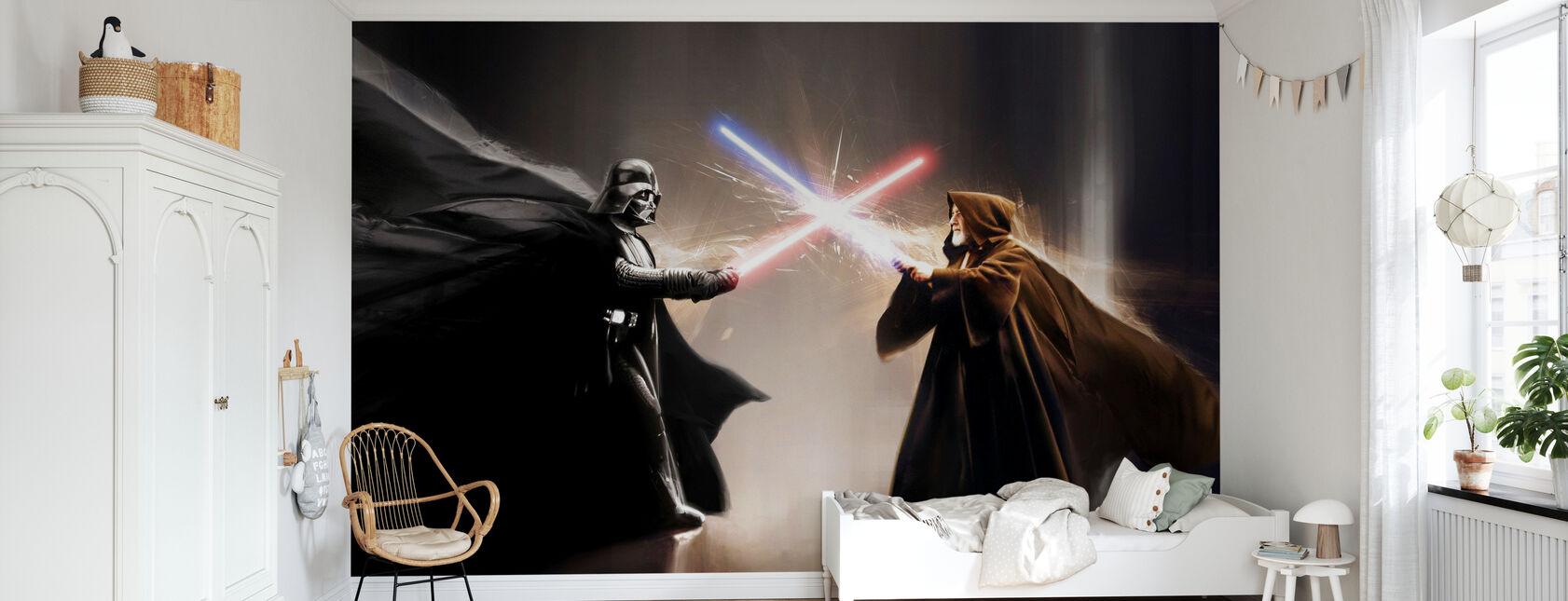 Star Wars - Darth Vader og Obi-Wan Kenobi - Tapet - Barnerom