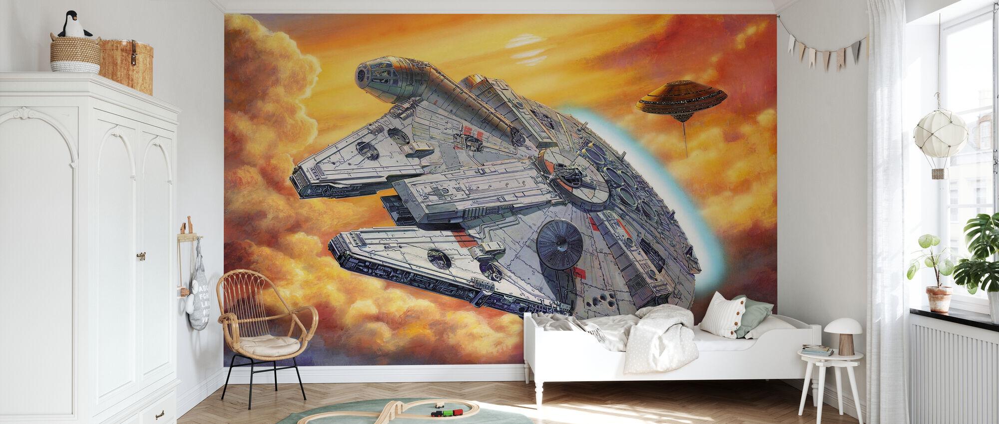 Stjärnornas krig - Millennium Falcon Moln - Tapet - Barnrum