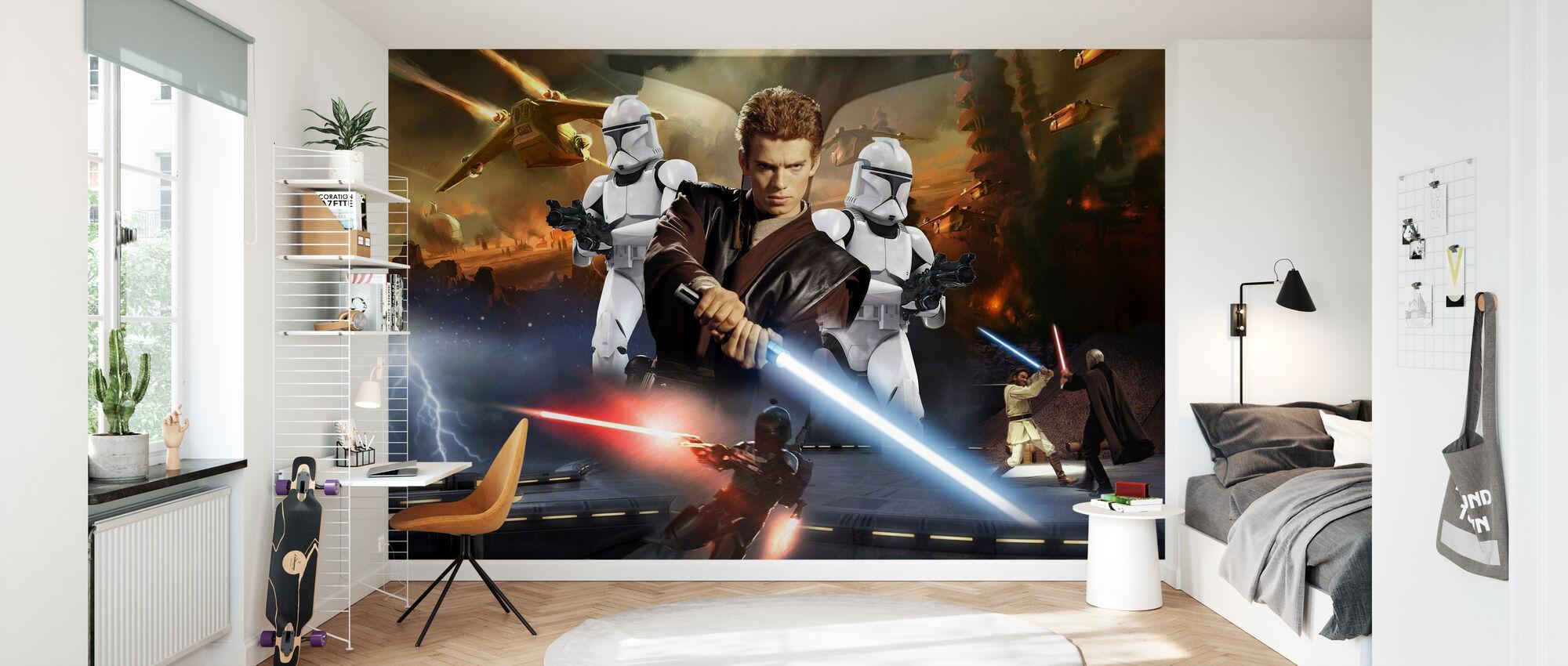 Star Wars - Anakin Skywalker og klon troopers - Tapet - Børneværelse