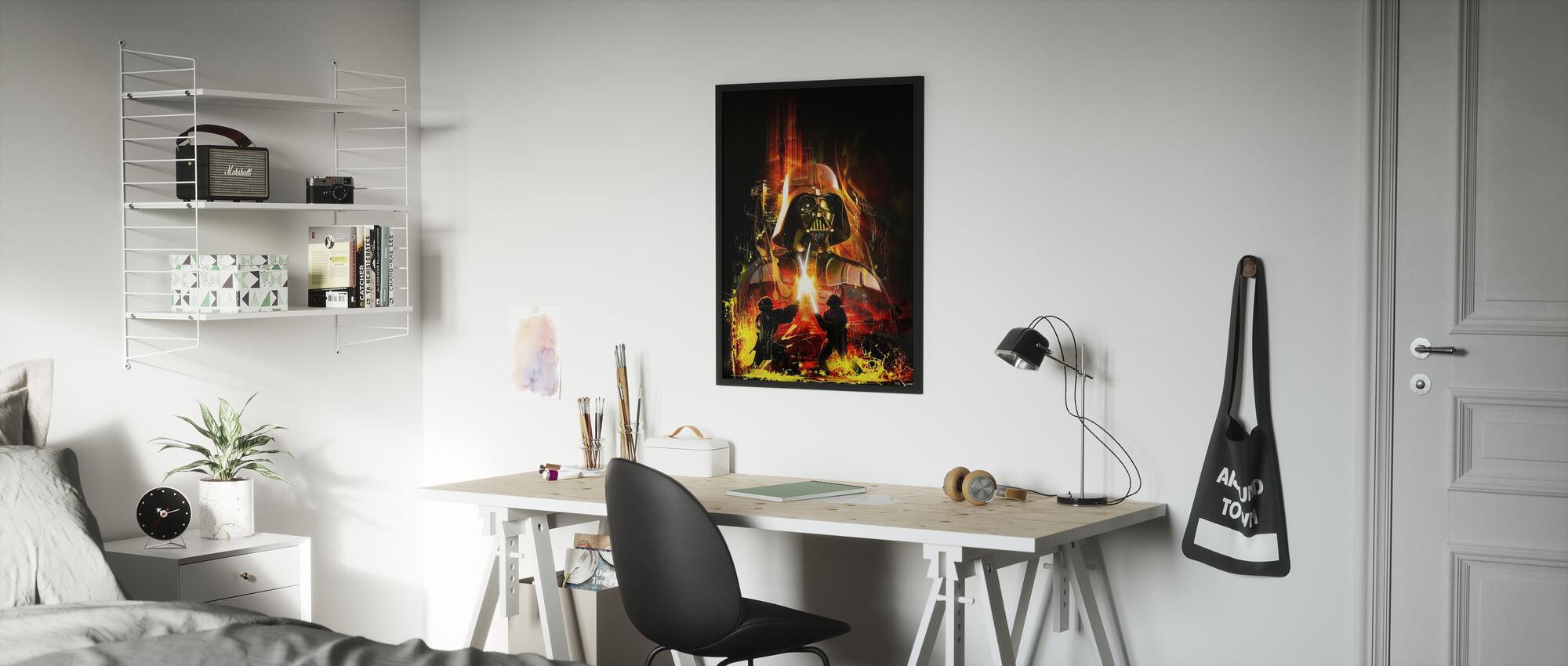 Tähtien sota - Darth Vader keltainen - Kehystetty kuva - Lastenhuone