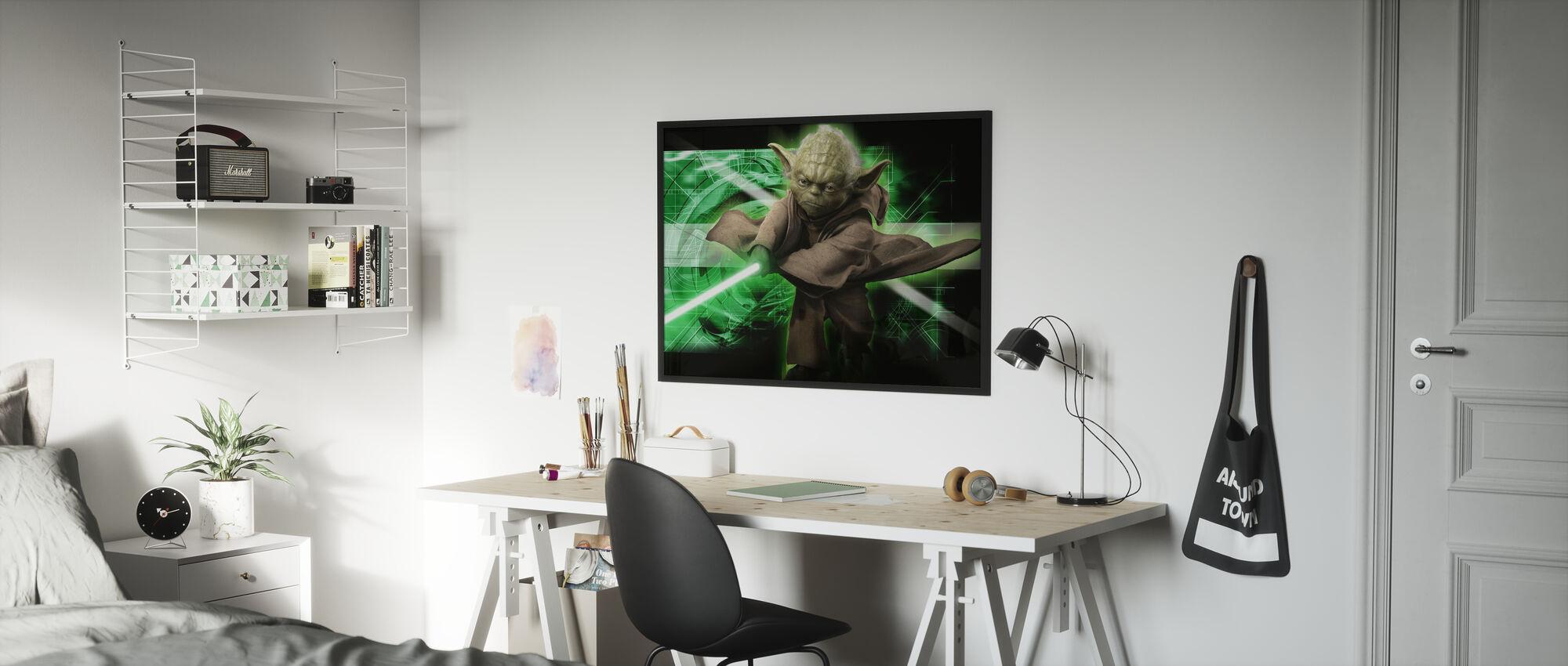 Star Wars - Yoda grønn 1 - Innrammet bilde - Barnerom