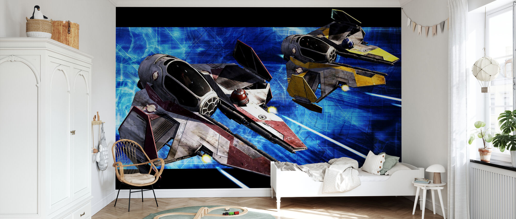 Star Wars - Starfighters Punainen ja keltainen - Tapetti - Lastenhuone