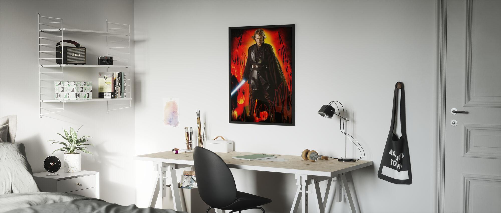 Star Wars - Anakin Skywalker Flames - Kehystetty kuva - Lastenhuone