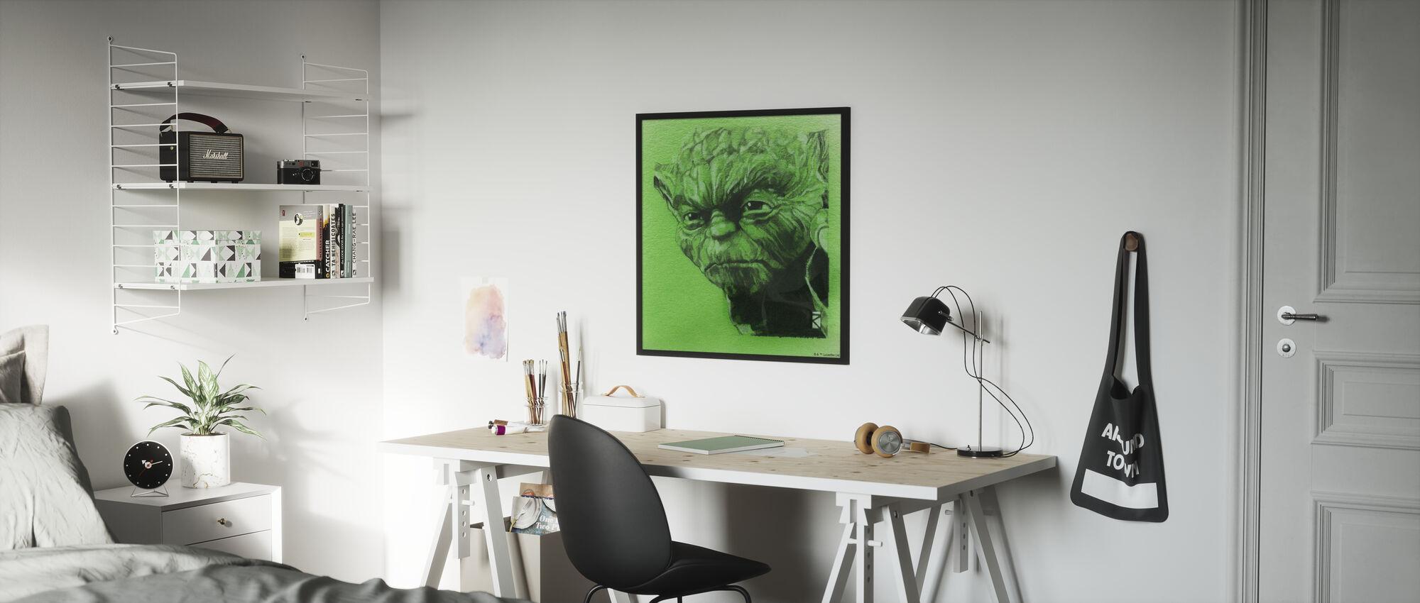 Tähtien sota - Yoda vihreä grafiitti - Kehystetty kuva - Lastenhuone