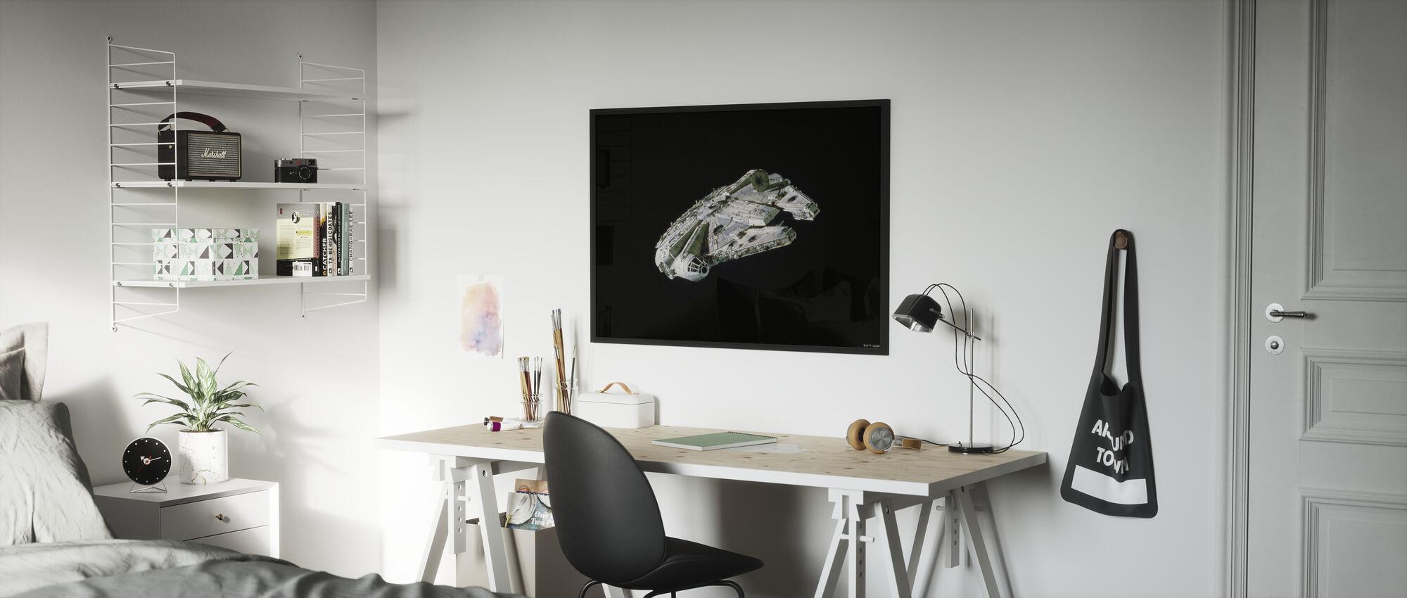 Tähtien sota - Millennium Falcon Space - Kehystetty kuva - Lastenhuone