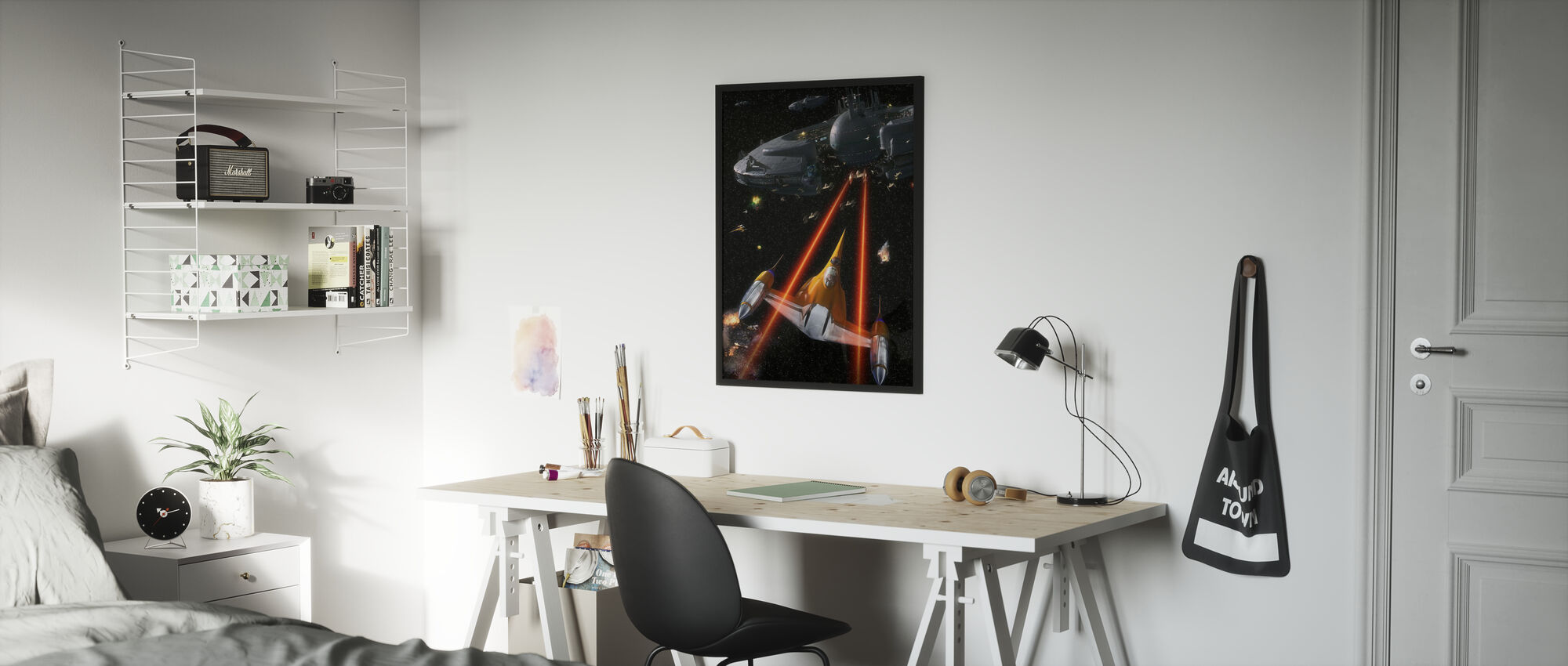 Tähtien sota - Naboo Starfighters - Kehystetty kuva - Lastenhuone