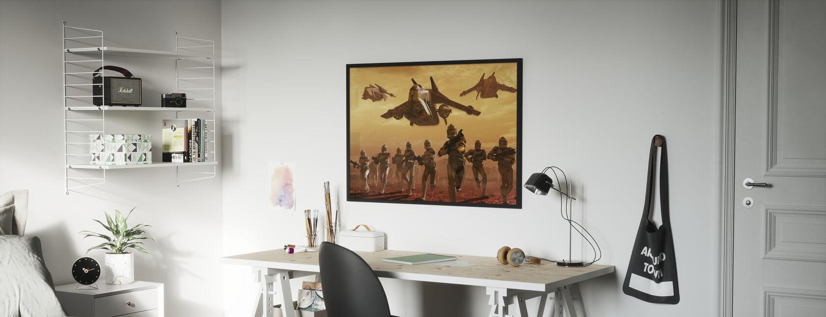 Star Wars - Klooni sotilaat Geonosis - Kehystetty kuva - Lastenhuone