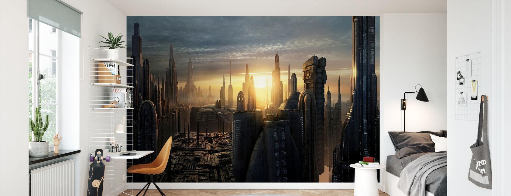 Star Wars - Koruscant byggnader solnedgång - Tapet - Barnrum