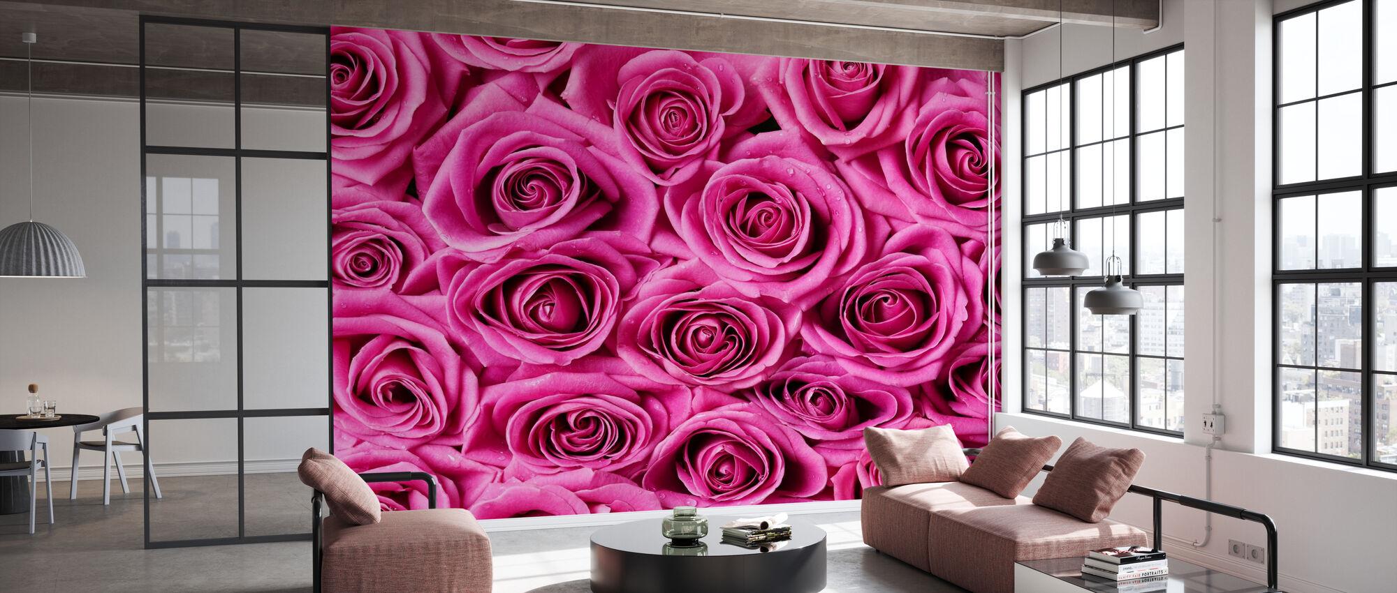 Ruusut - Vaaleanpunainen - Tapetti - Toimisto