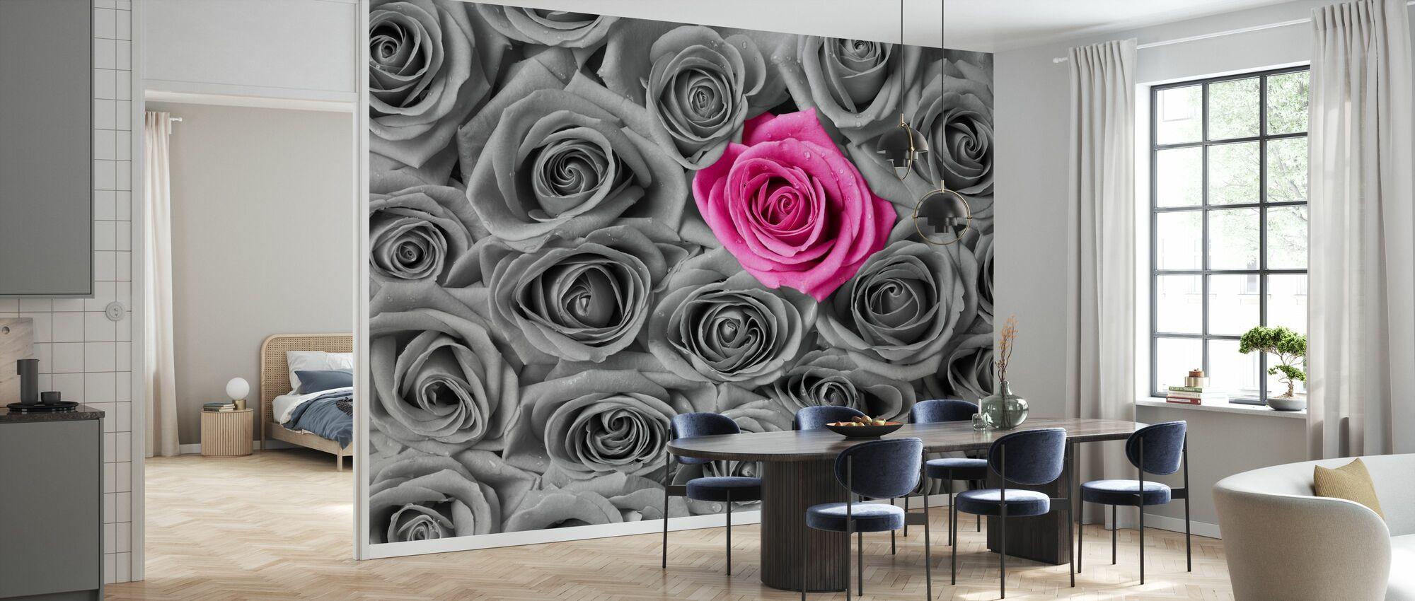Róże - różowe i szare - Tapeta - Kuchnia