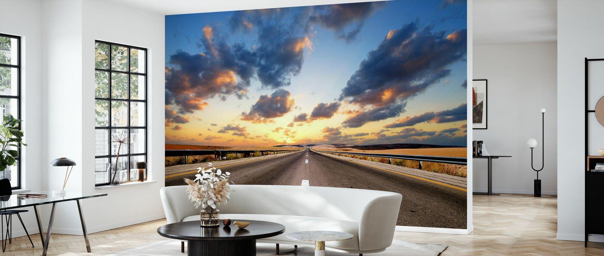 Straße unter dramatischem Himmel - Tapete - Wohnzimmer
