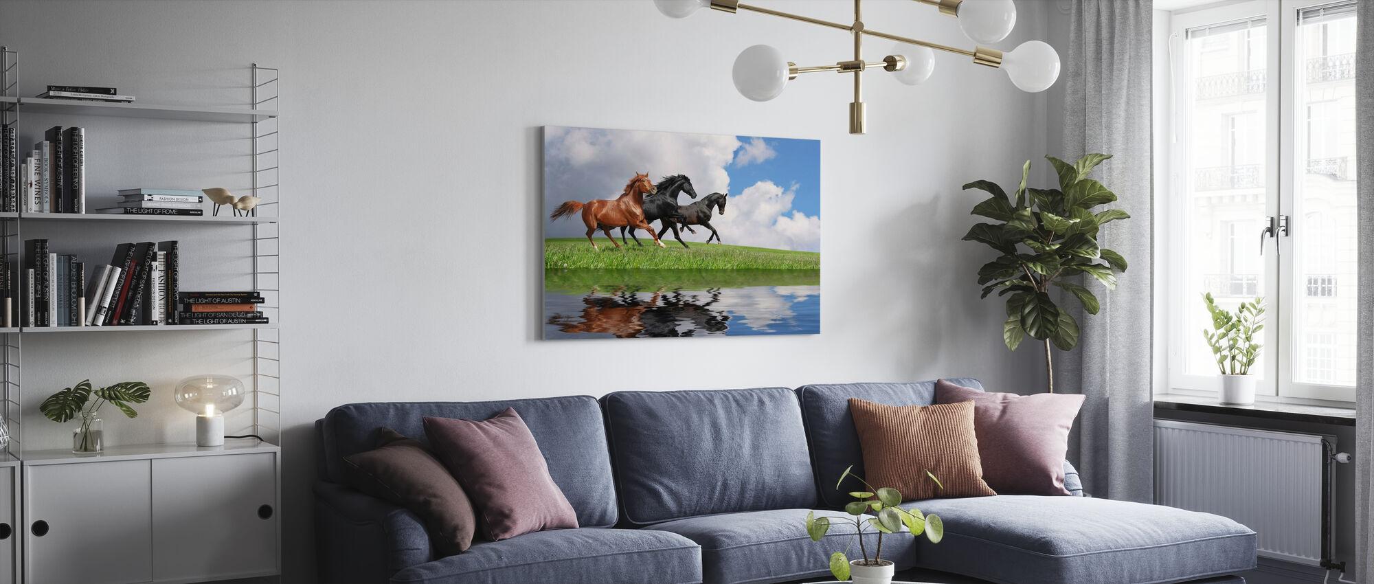 Gallop Paarden - Canvas print - Woonkamer