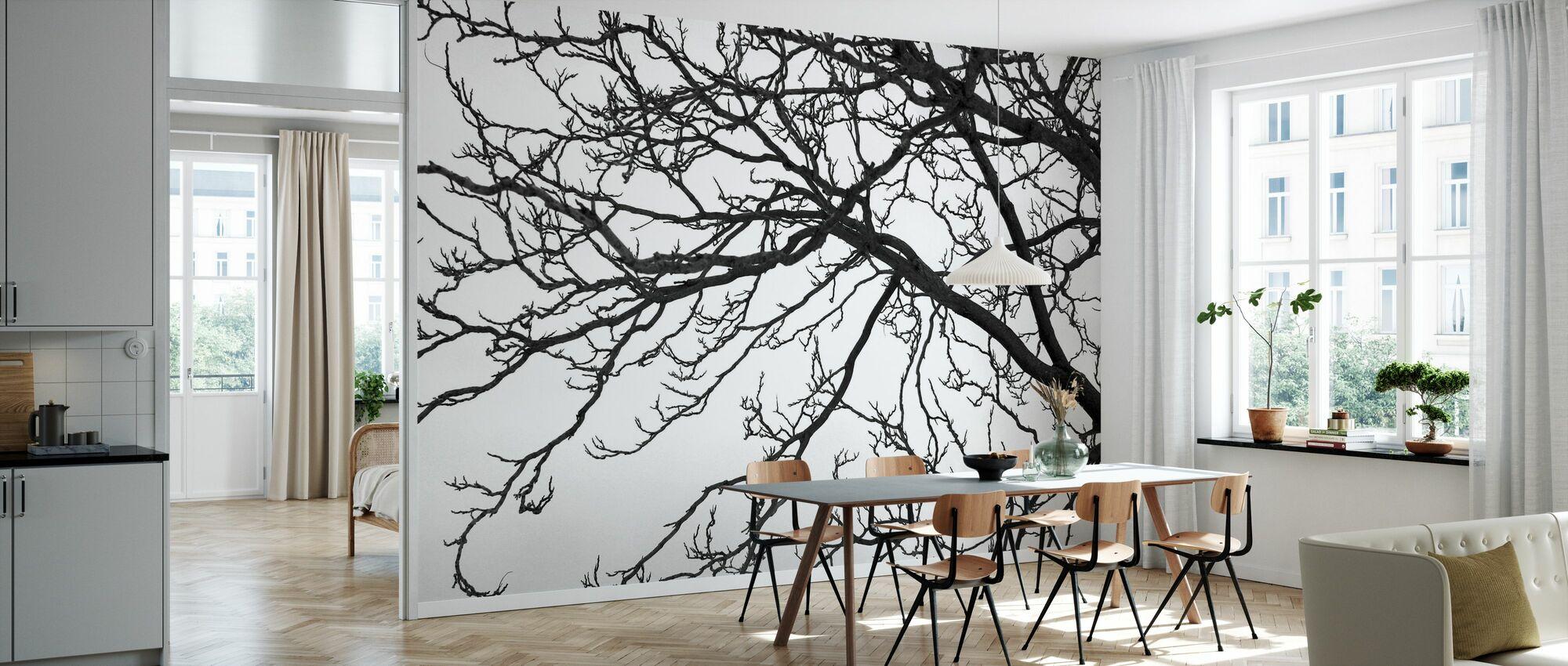 Zwarte en witte boom - Behang - Keuken