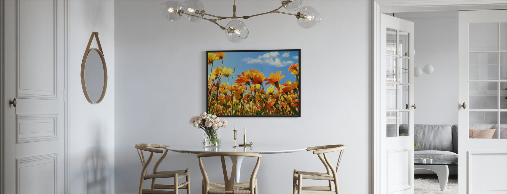 Spring Orange and Yellow Wildflowers - Framed print - Kitchen
