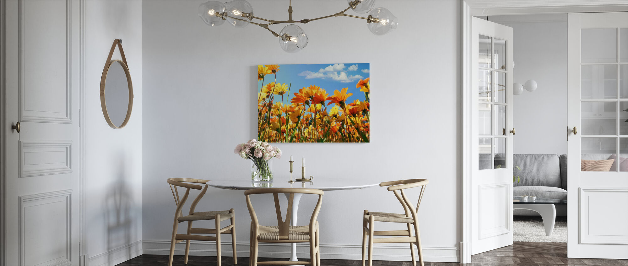 Lente oranje en gele wilde bloemen - Canvas print - Keuken