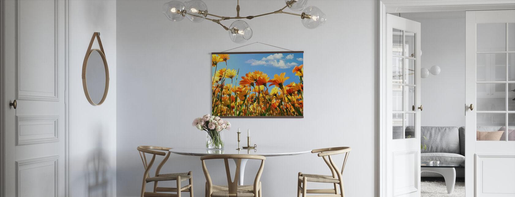 Lente oranje en gele wilde bloemen - Poster - Keuken