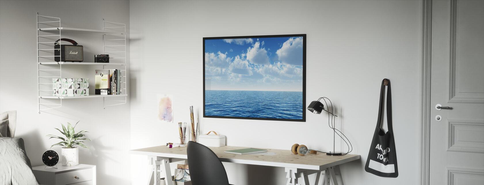Cloudy Blue Sky Horizon - Framed print - Kids Room