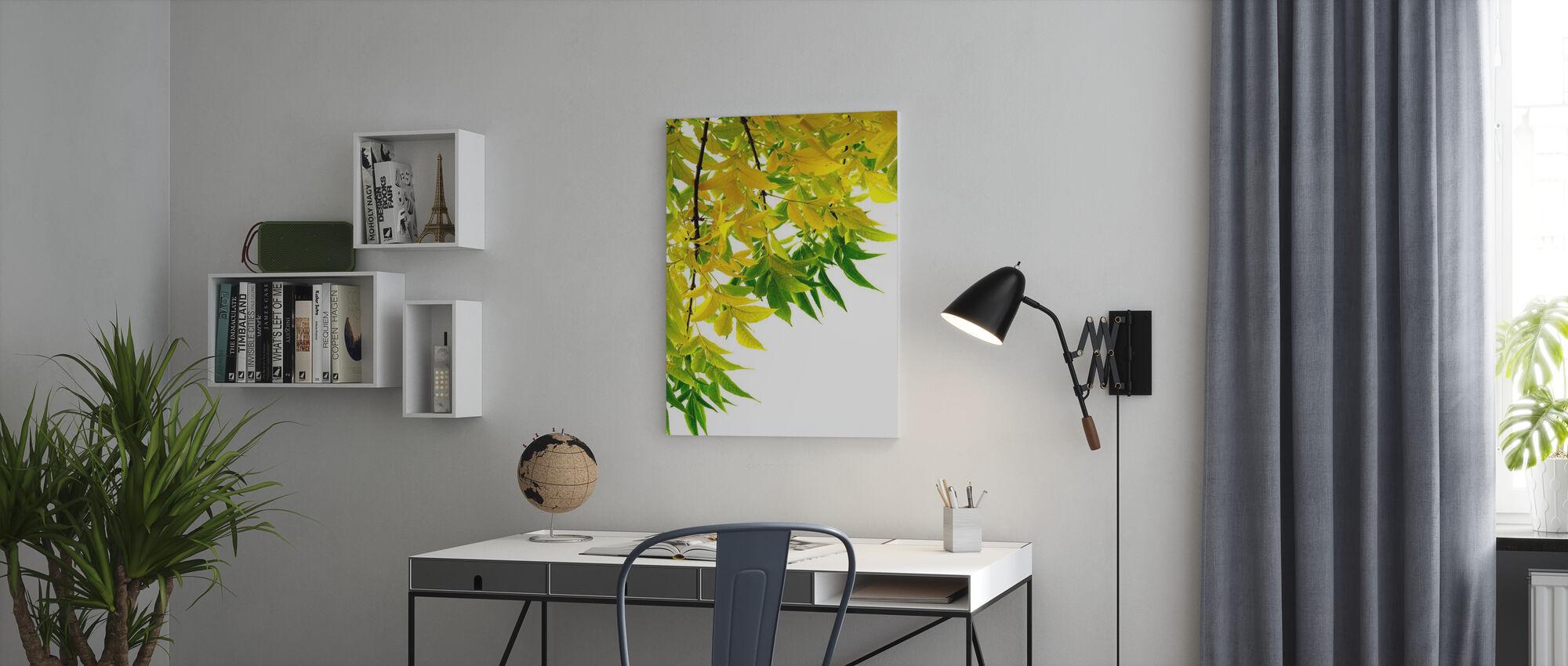 Groen en Geel Blad - Canvas print - Kantoor