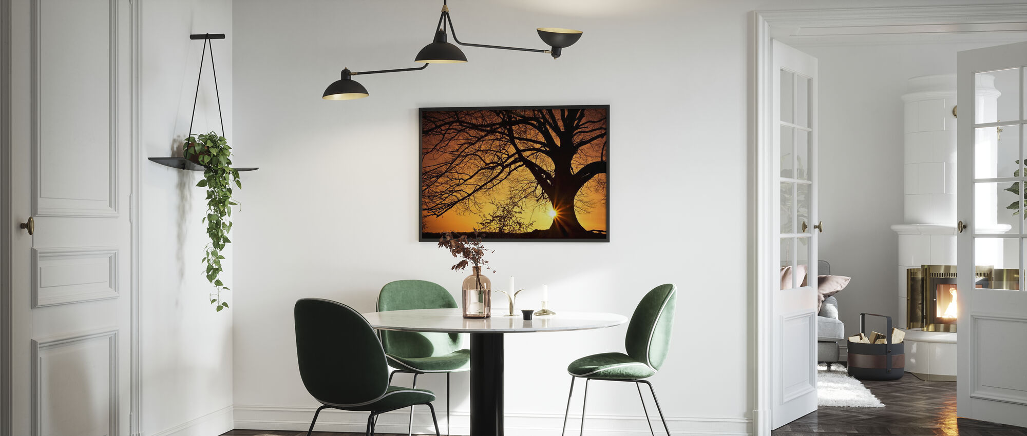 Silhouette of a Willow Tree in Sunset - Framed print - Kitchen