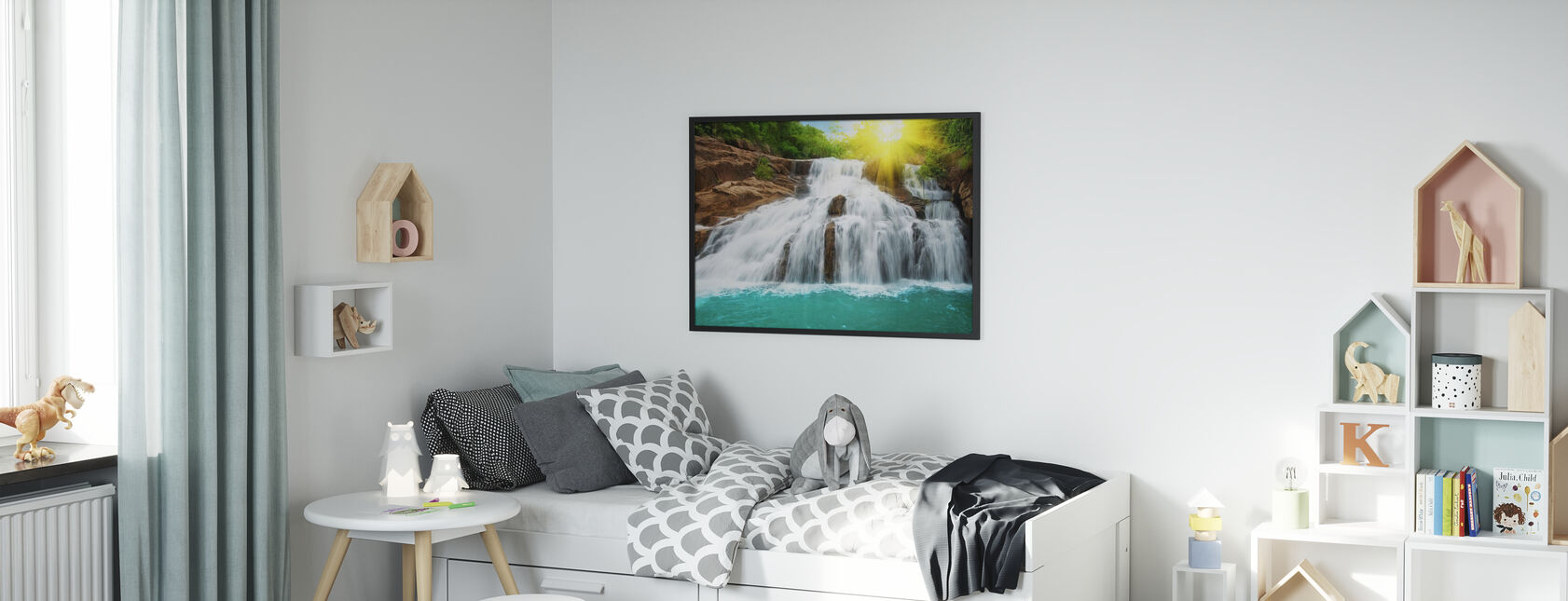 Waterfall in Rain Forest and Sunlight - Framed print - Kids Room