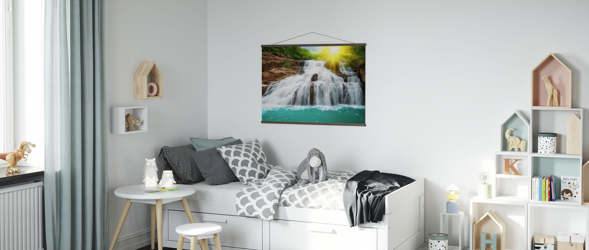 Waterfall in Rain Forest and Sunlight - Poster - Kids Room