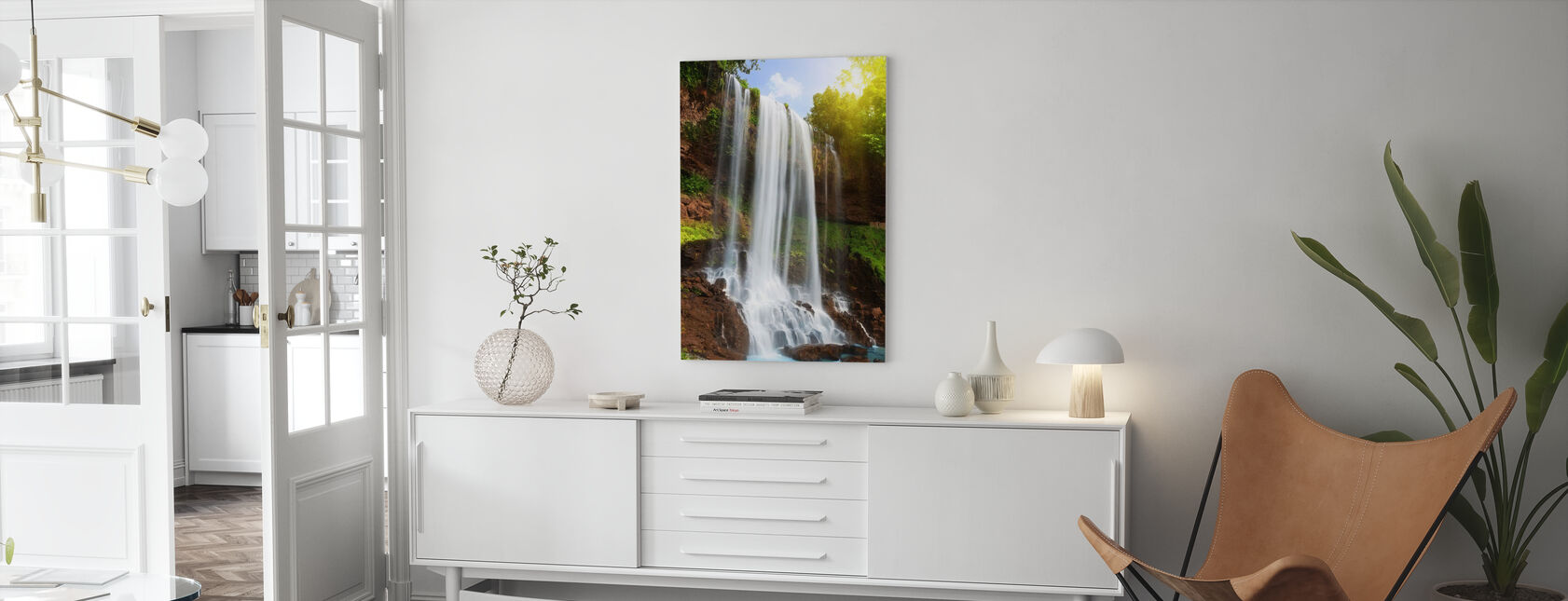 Waterfall in Rain Forest - Canvas print - Living Room