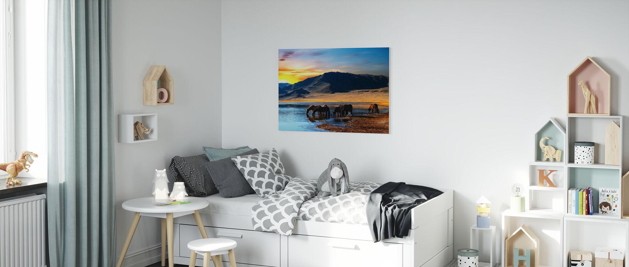 Drinking Horses - Canvas print - Kids Room
