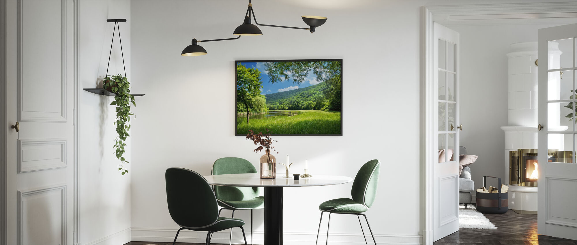 Summer Landscape with River - Framed print - Kitchen