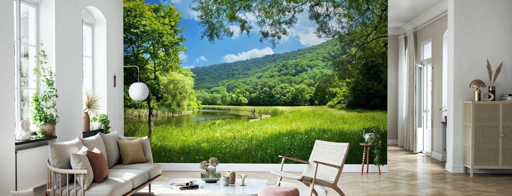 Summer Landscape with River - Wallpaper - Living Room