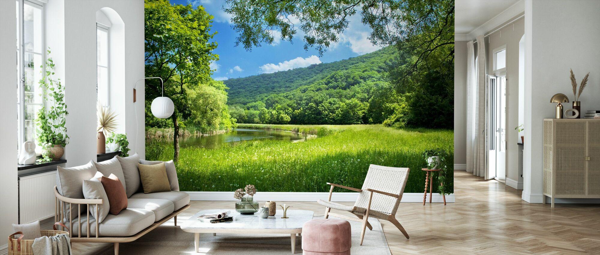 paysage d'été avec rivière - Papier peint - Salle à manger