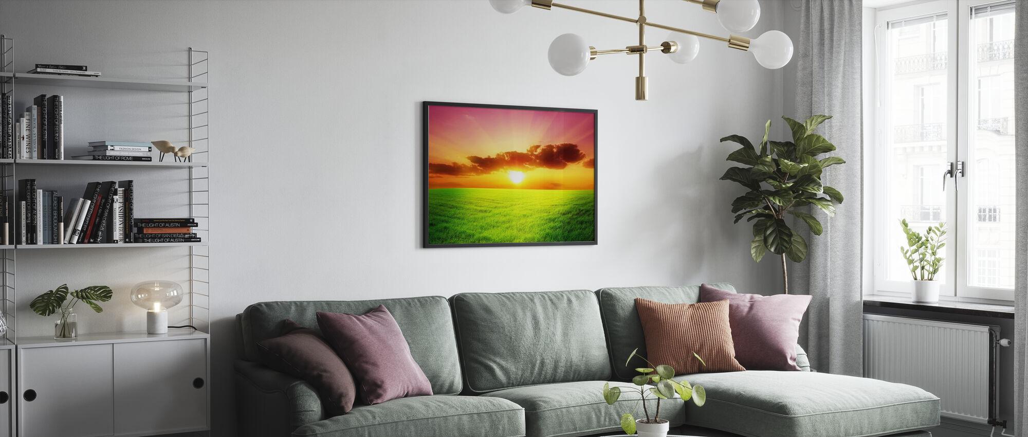 Vihreä kenttä - Kehystetty kuva - Olohuone