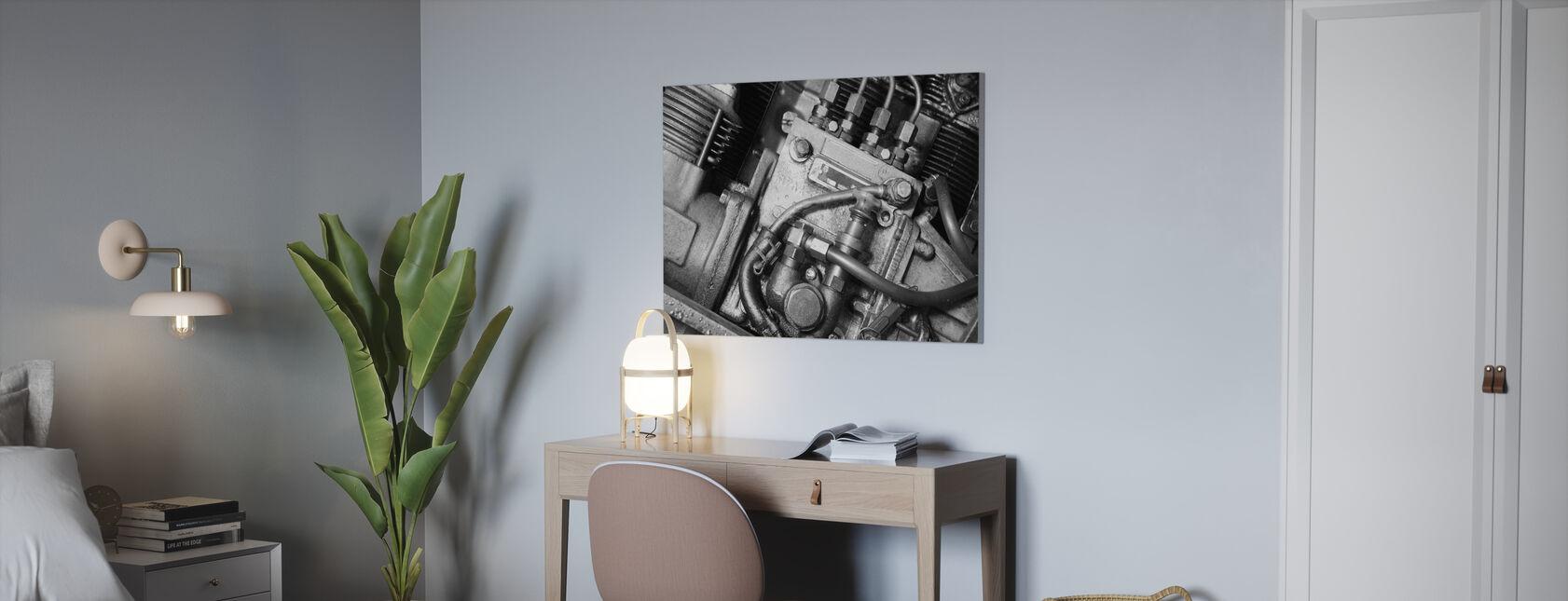 Moteur de voiture - Monochrome - Impression sur toile - Bureau