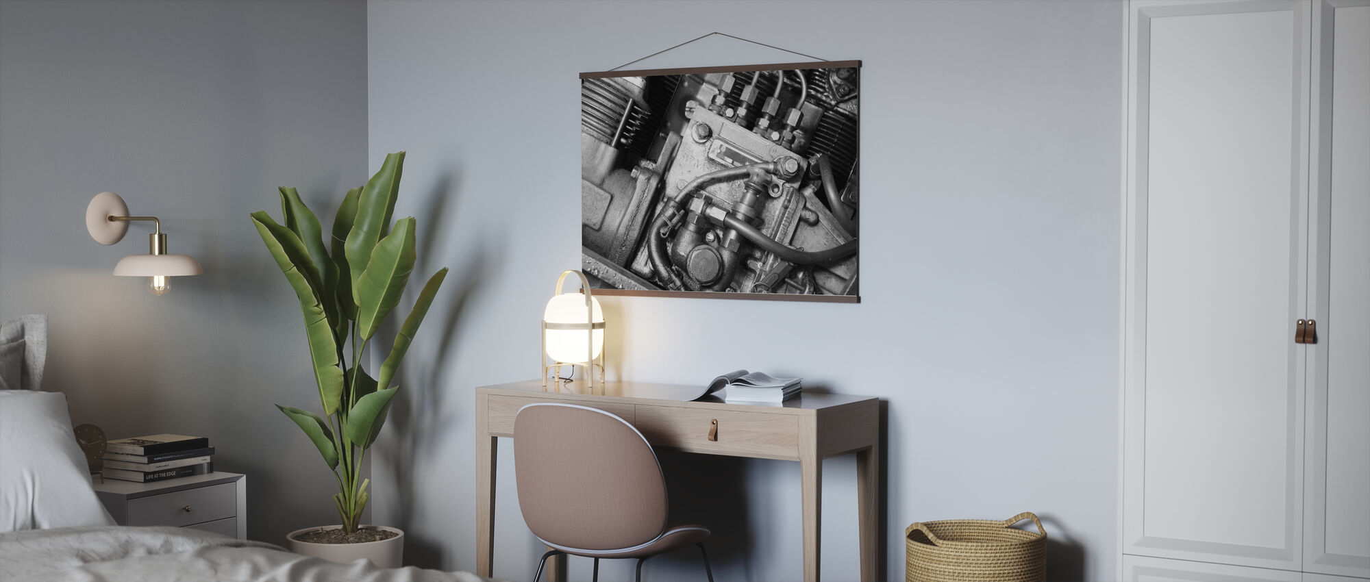 Car Engine - Monochrome - Poster - Office