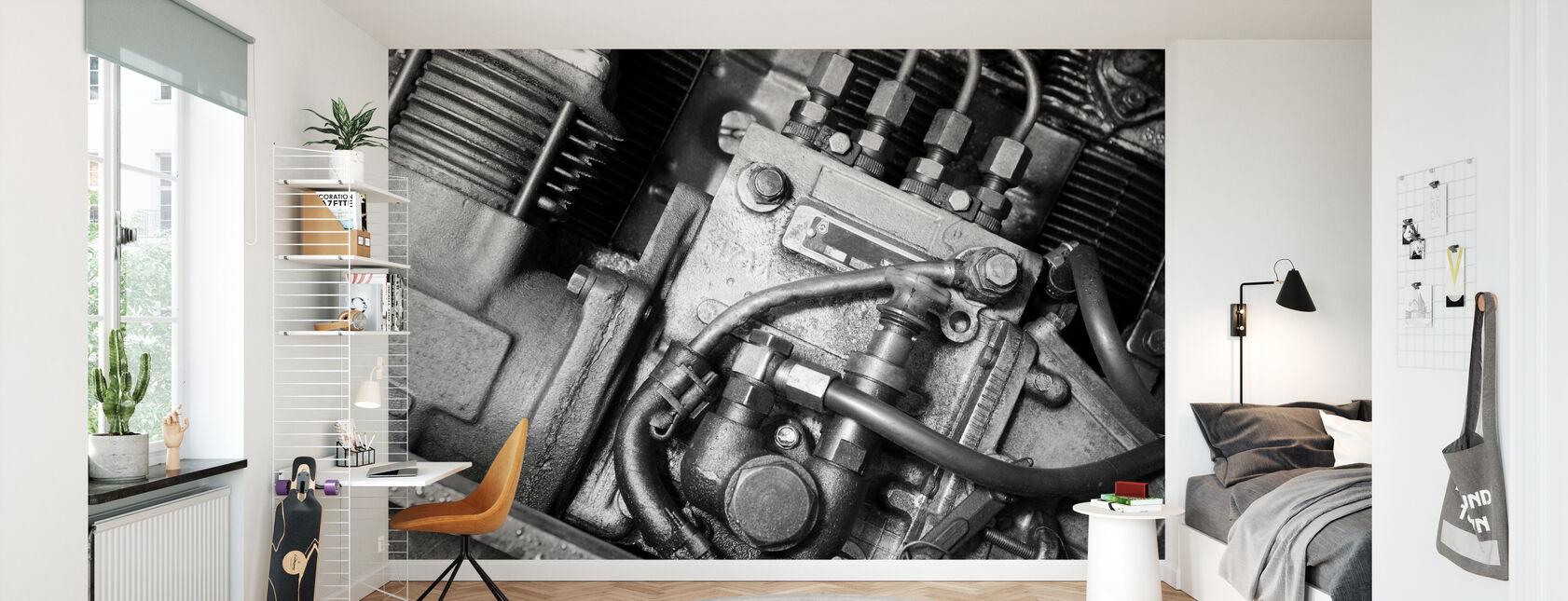 Car Engine - Monochrome - Wallpaper - Kids Room