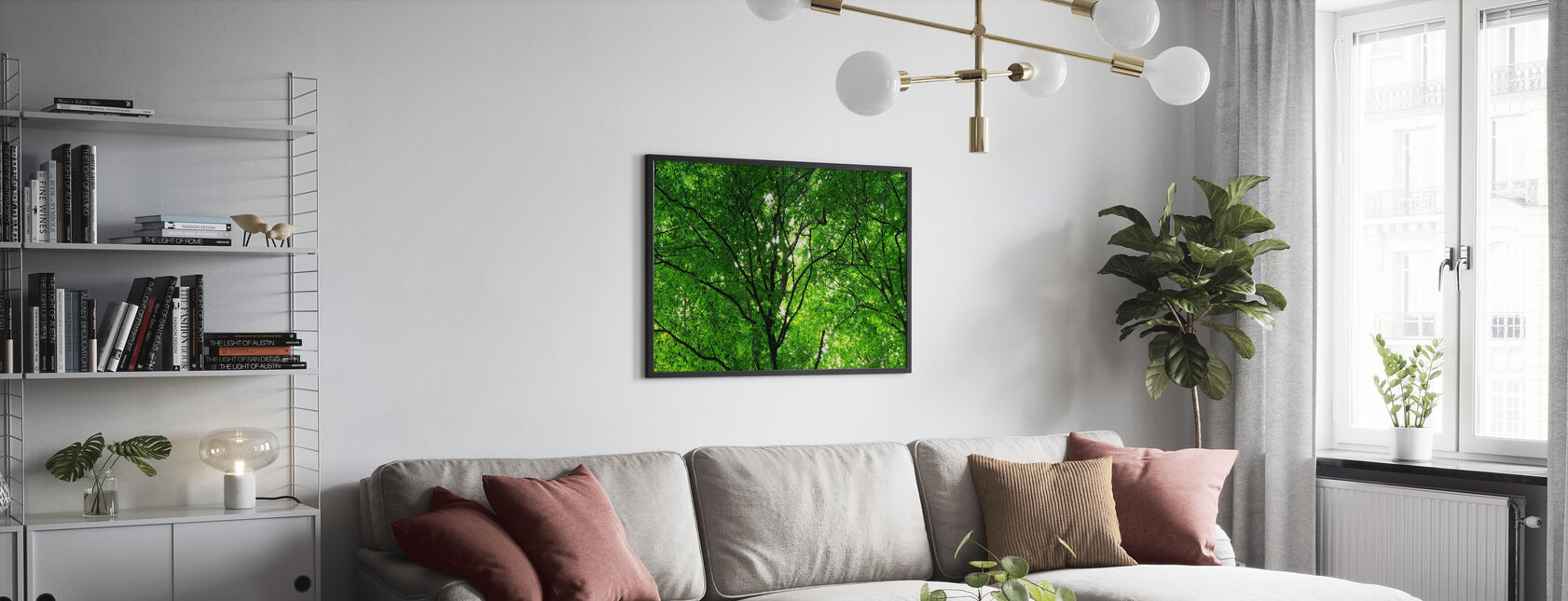 Foresta verde in primavera - Stampa incorniciata - Salotto