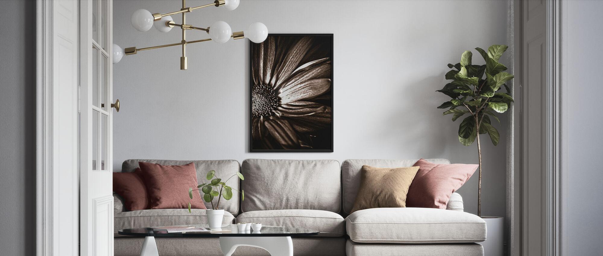 Dark Daisy - Sepia - Framed print - Living Room