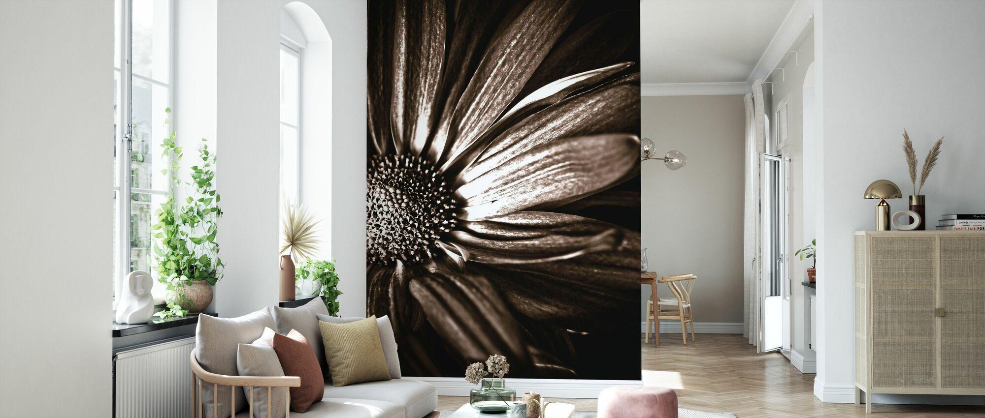 Dark Daisy - Sepia - Wallpaper - Living Room