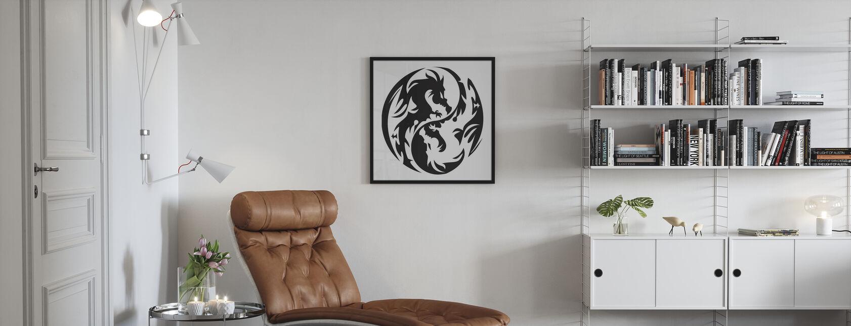 Ympyrä lohikäärmeet - Kehystetty kuva - Olohuone