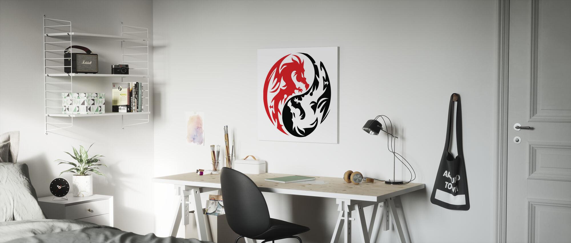 Circle Dragons - Red - Canvas print - Kids Room