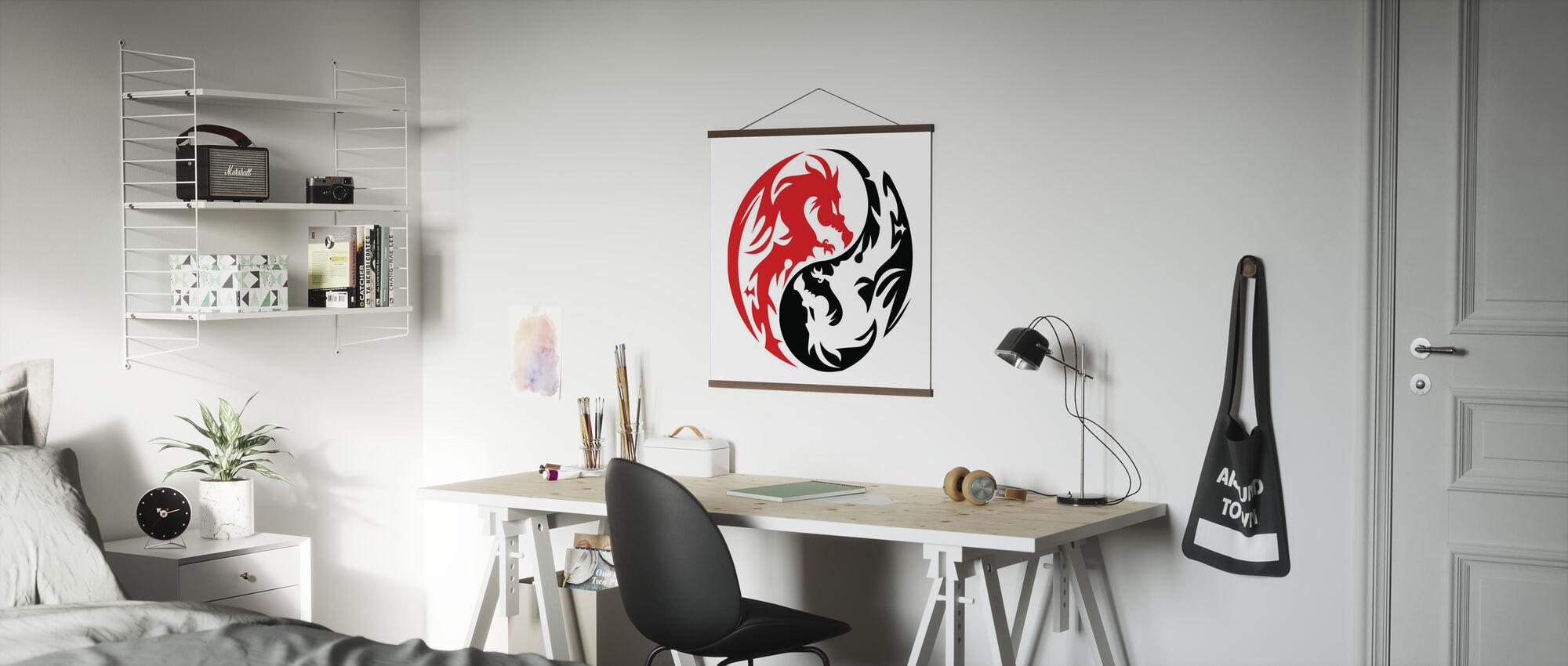 Kreis Drachen - Rot - Poster - Büro