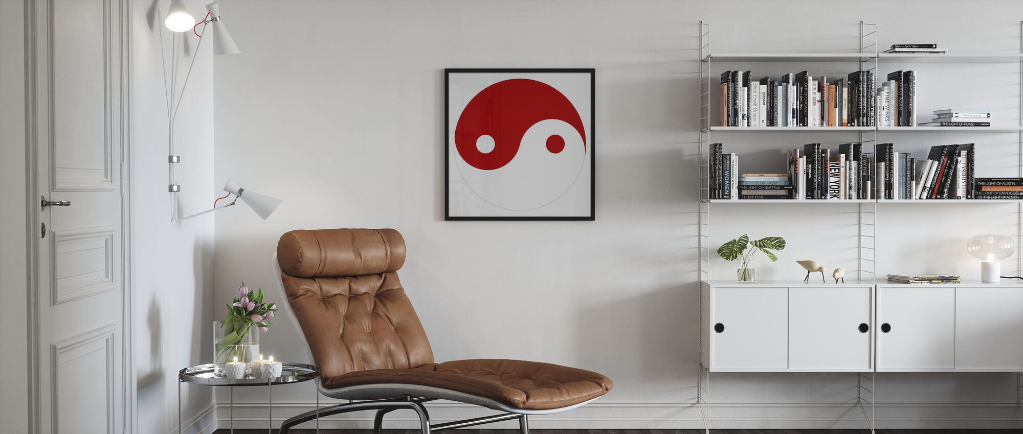 Yin-Yang - Red - Framed print - Living Room