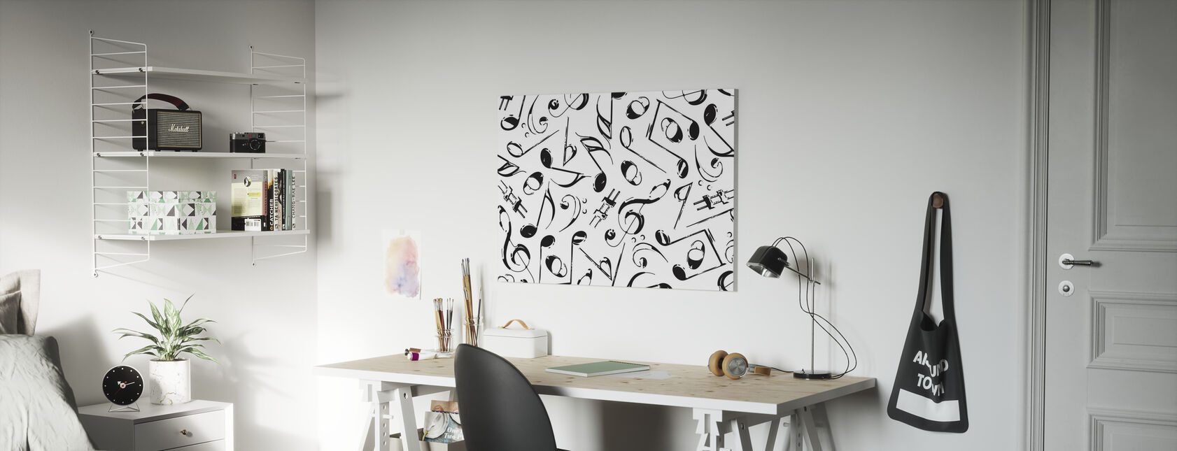 Grunge Muzieknoten - Canvas print - Kinderkamer