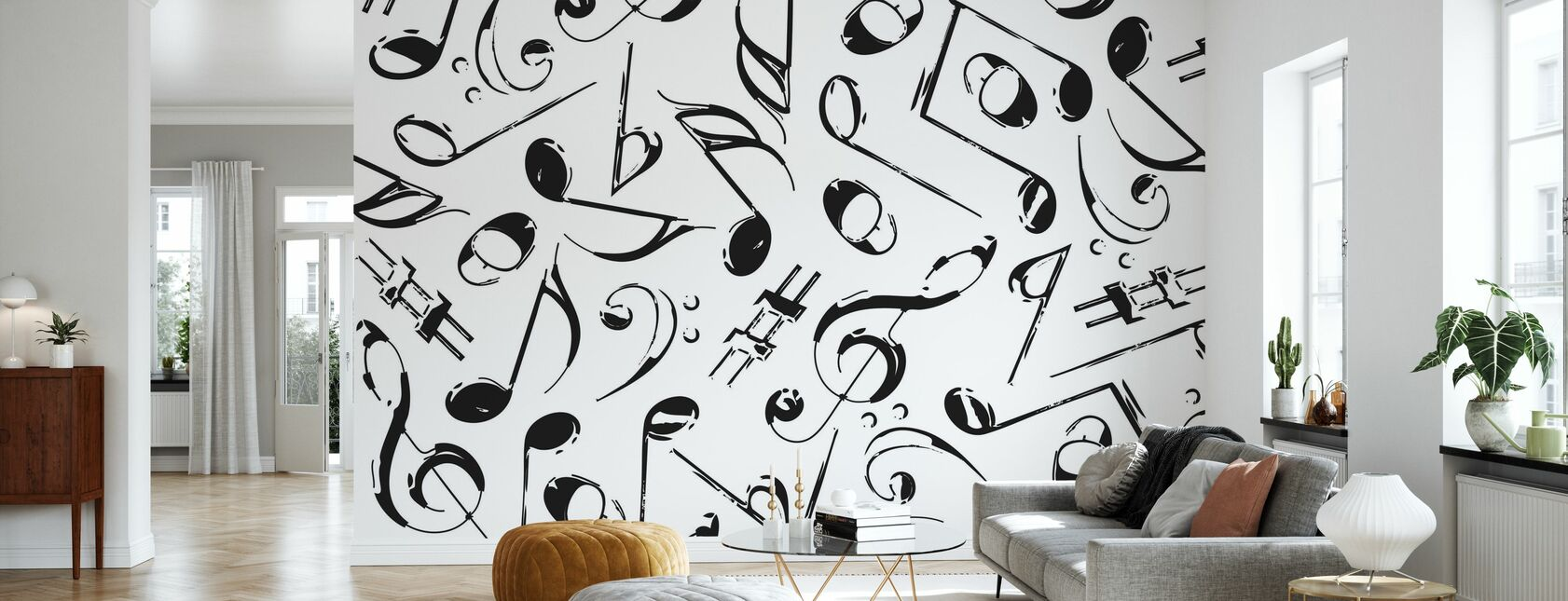 Grunge Musical Notes - Wallpaper - Living Room
