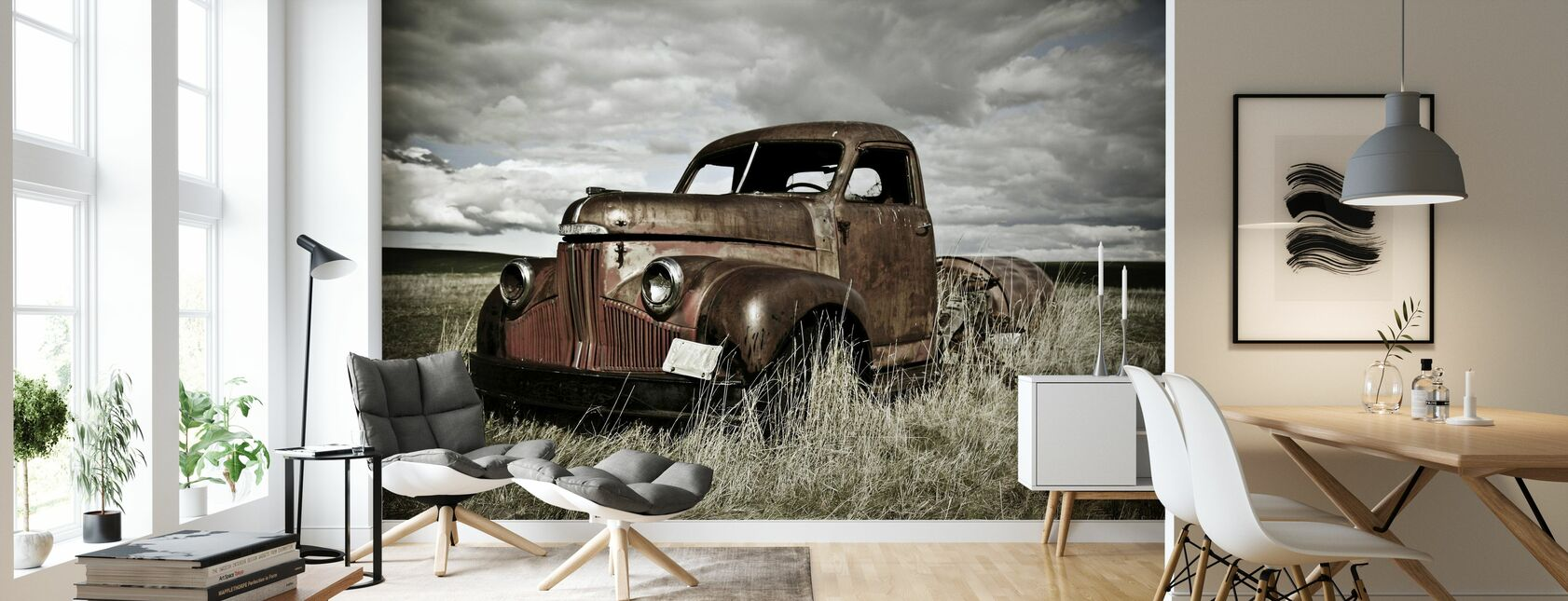 Old Truck Out in the Field - Wallpaper - Living Room