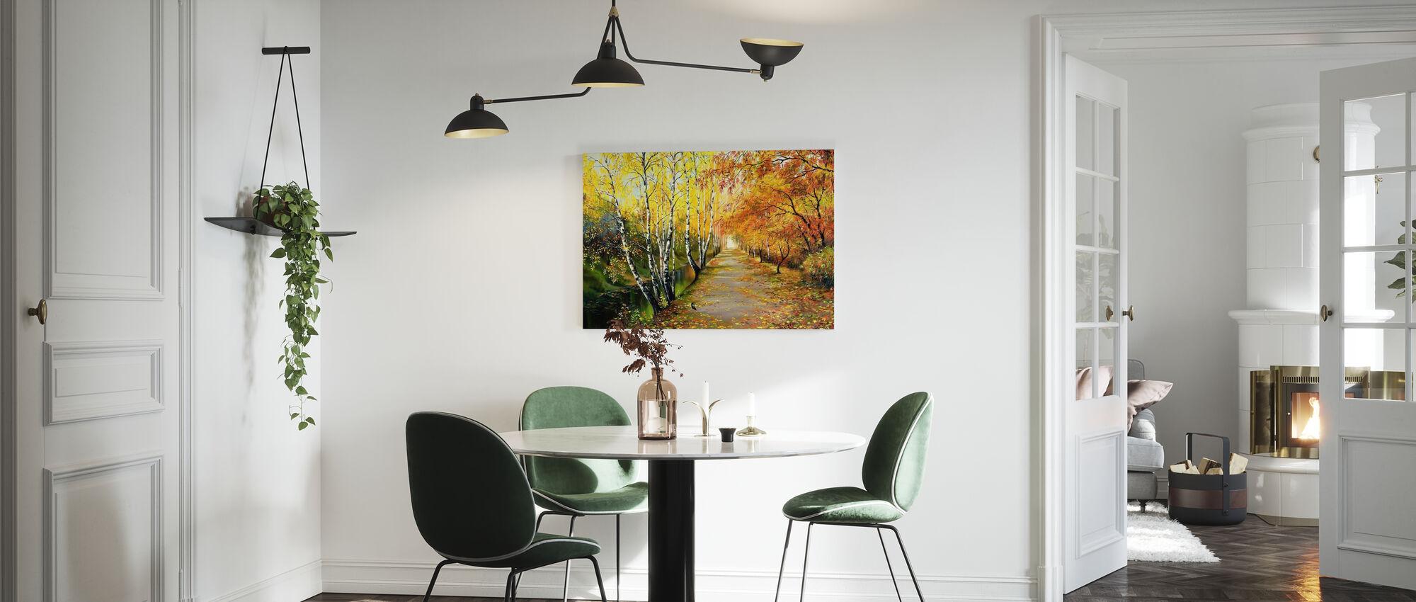 Autumn Road Along the Channel - Canvas print - Kitchen