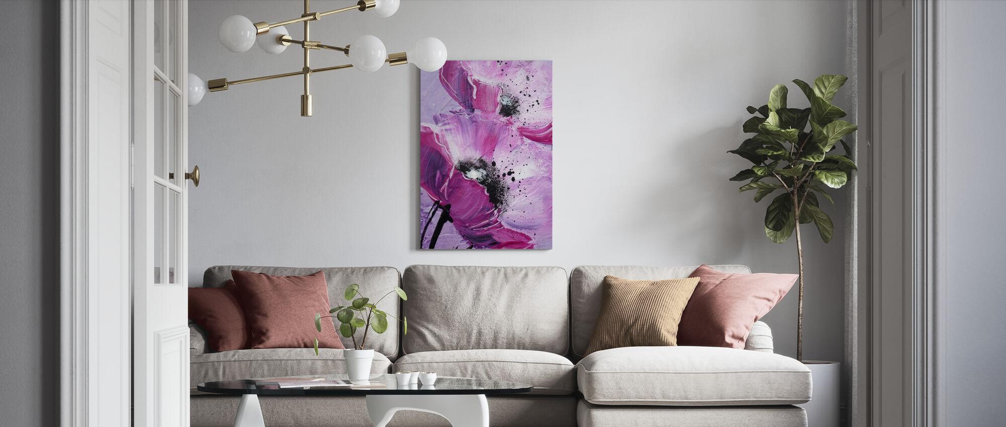 Violet Poppy Harmony - Canvas print - Living Room