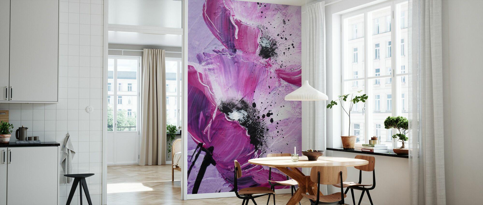 Violet Poppy Harmony - Wallpaper - Kitchen